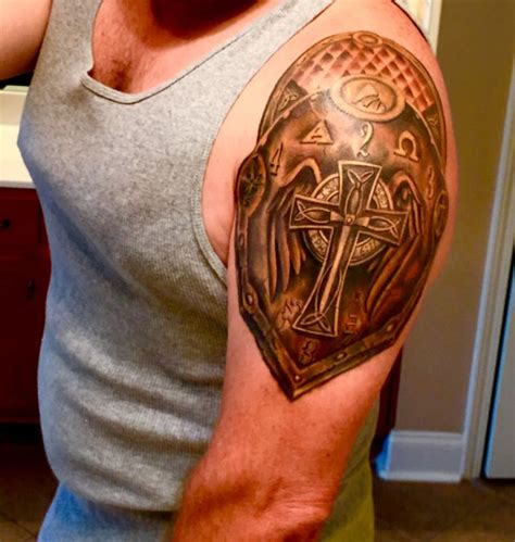 shoulder shield tattoo 17 best ideas about shoulder armor on