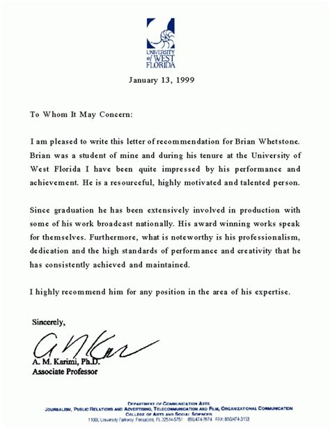 Professional Recommendation Letter For College 4 Professional Letter Of Recommendation Mystock Clerk
