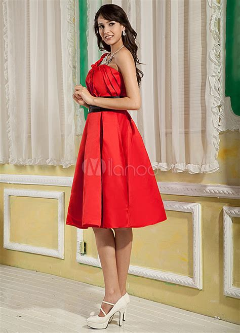 casual a line one shoulder knee length white chiffon party dress cokm14005 red a line one shoulder knee length satin homecoming dress
