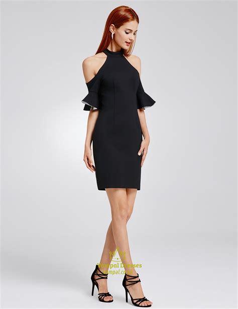 Simple Black Knee Length Dress