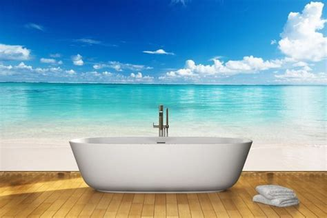 beach wall mural in bathroom   clothing entrance while