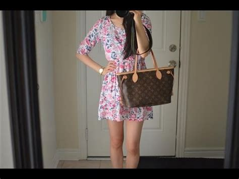 ootd feat  louis vuitton neverfull pm monogram purse