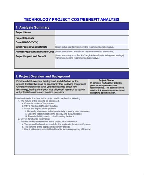 project management cost benefit analysis template cost benefit analysis format staruptalent