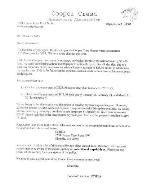 Financial Dues Letter Cooper Crest Community Important Community Management Documents