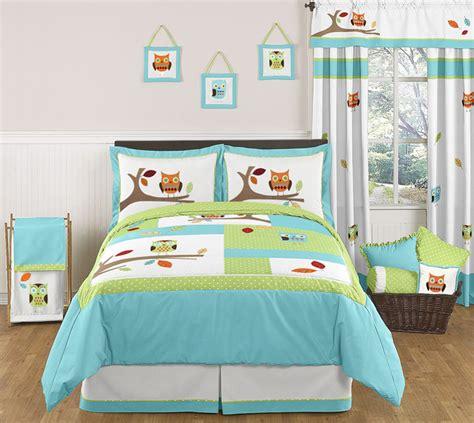 owl bedding set jojo designs turquoise blue lime green owl boy girl kids