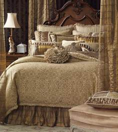 Marquise luxury bedding by eastern accents lucerne gold w bow