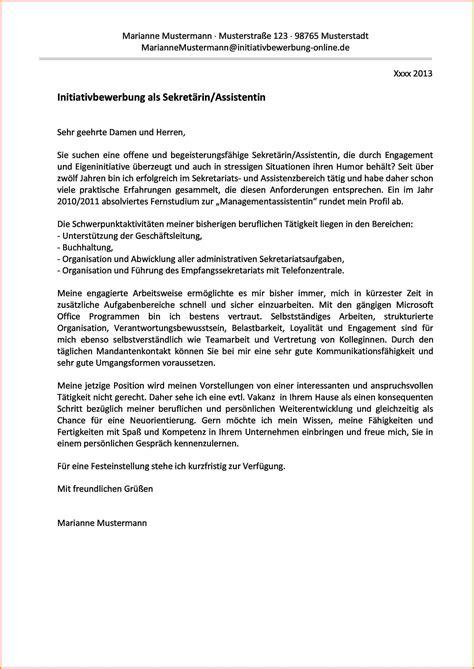Bewerbung Muster Sekretarin 2 Initiativbewerbung Anschreiben Muster Sekret 228 Rin