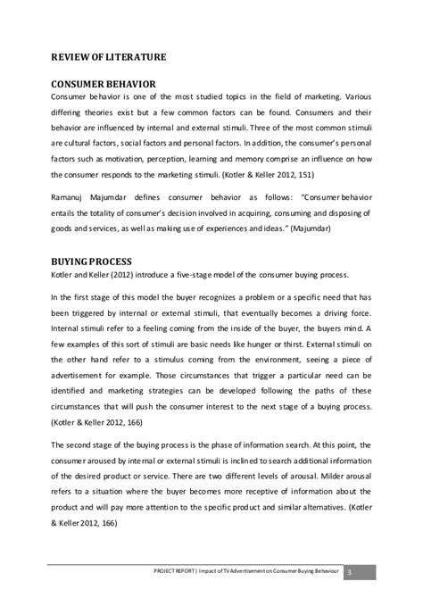 Consumer Behaviour Projects Mba by Effectiveness Of Tv Advertisement On Consumer Behaviour