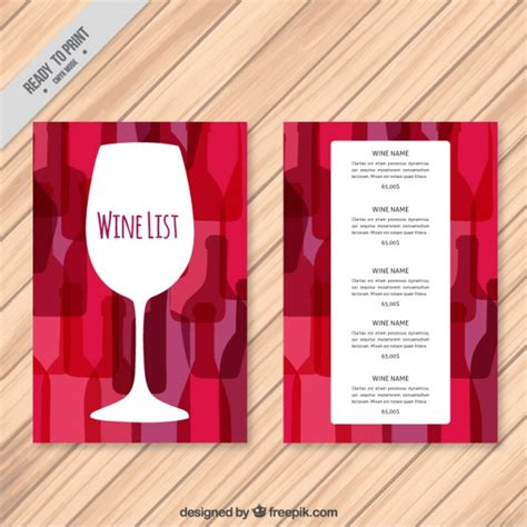 free wine list template wine list template with colorful background vector free