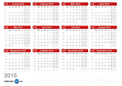 mini fiscal 2016 kalender 2016