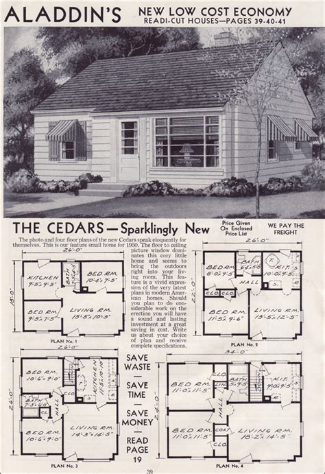 Mid Century Floor Plans by 1951 Cedars Aladdin Readi Cut Homes Tiny Minimal
