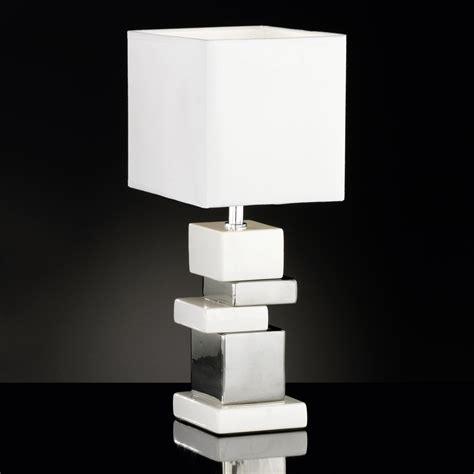 Nachttischleuchten Modern by Schicke Keramik Tischle Eckig Weiss Silbern