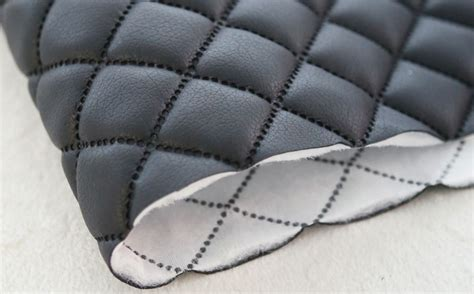 Quilted Leather Material by Quilted Faux Leather Fabric Black