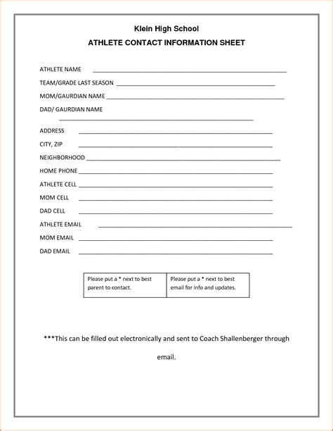 info sheet template doc 754800 free printable contact list templates