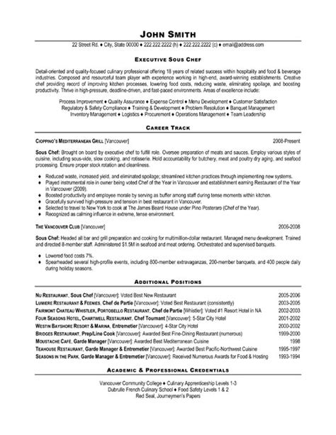sle sous chef resume 28 images chef resume sle writing