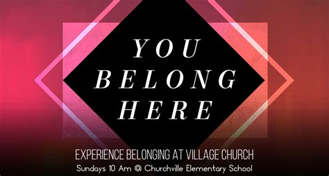 libro you belong here village church welcome