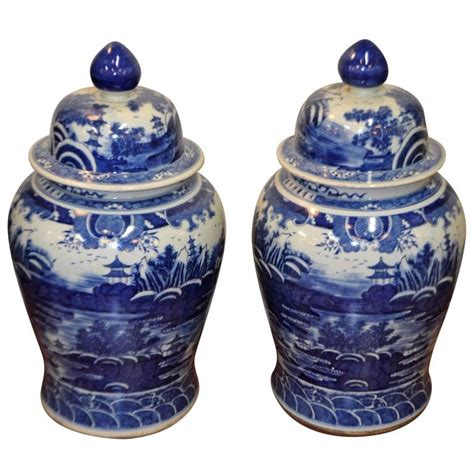 blue and white ginger jars pair of chinese large blue and white porcelain ginger jars