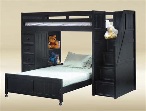 black loft bed lake view black twin full loft bed with stairs chest