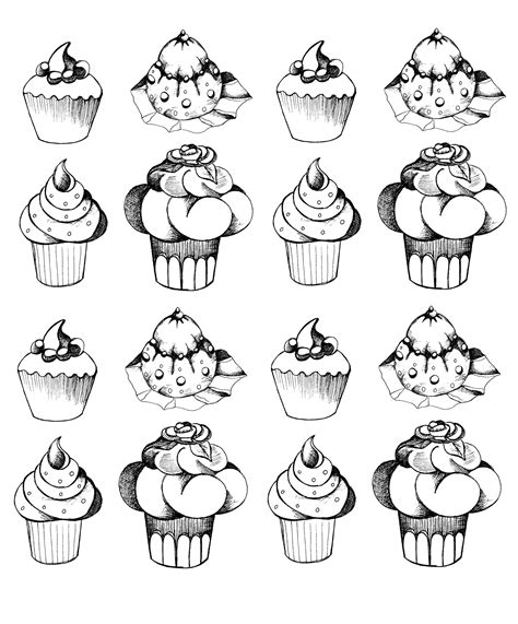 coloring pages for adults cupcakes cupcakes oldstyle cupcakes and cakes coloring pages
