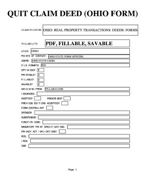 printable quit claim deed ohio fillable online quit claim deed ohio form us state