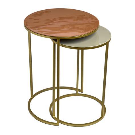 side table set of 2 buy pols potten enamel side table set of 2 pink beige