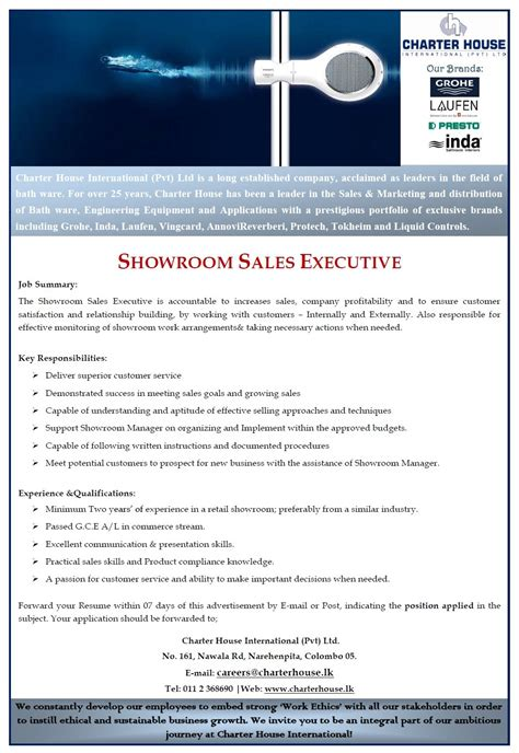 showroom sales assistant jobs vacancies in sri lanka top showroom sales executive job vacancy in sri lanka