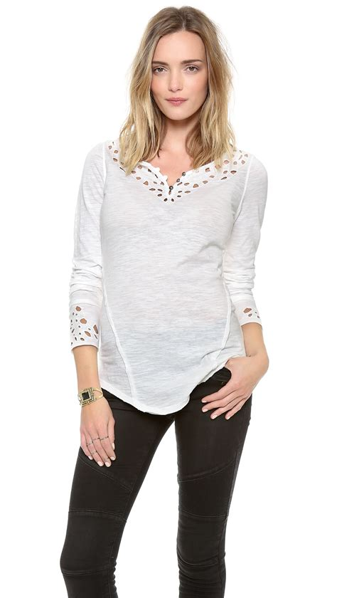 Kare Top Blue White Havva free blue sleeve top in white lyst