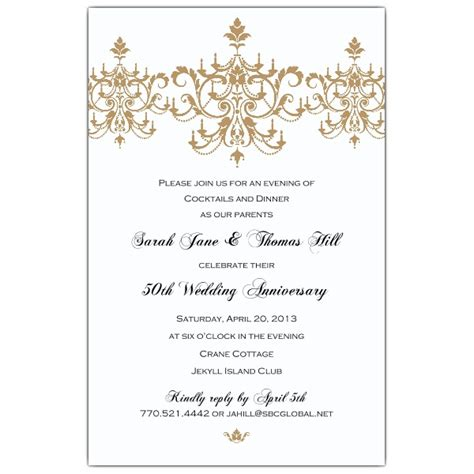 scroll flourish gold 50th anniversary invitations paperstyle