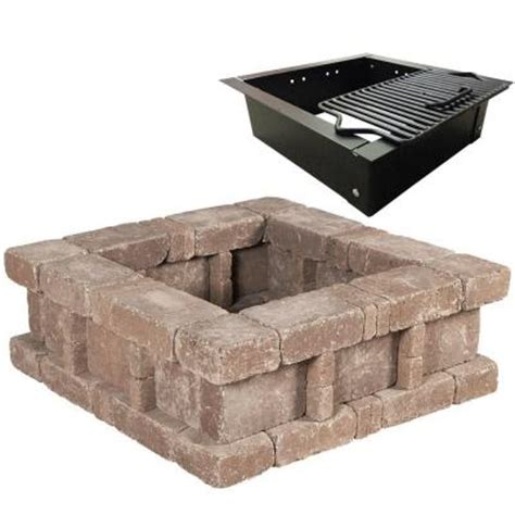Home Depot Firepits Pavestone Rumblestone 38 5 In X 14 In Rumblestone Square Pit 2 In Cafe Rsk50469 The