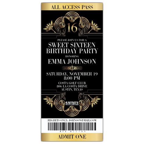 gatsby invite template gatsby glitzy ticket sweet 16 invitations paperstyle