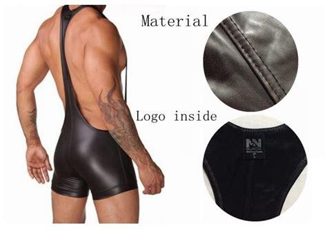 N2n Leather Boxer Ns010c n2n bodywear faux leather singlet siamese boxers brand leotard