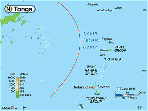 tonga on a world map tonga physical map by maps from maps world s