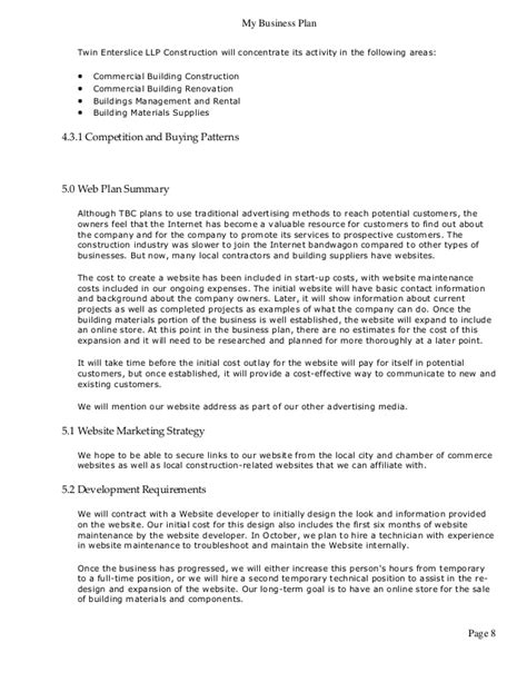 Sle Business Plan General Contractor   business plan for construction and engineering