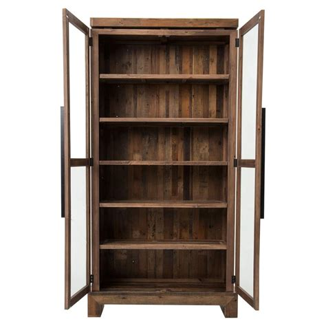 rustic bookcase with doors chesney rustic lodge glass reclaimed wood door bookcase