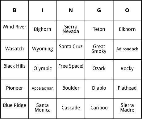 cariboo card template u s mountain ranges bingo by bingo card template