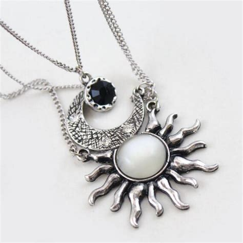 Wa Kalung Choker Three Layer Black Moon Sun get cheap sun moon jewelry aliexpress alibaba