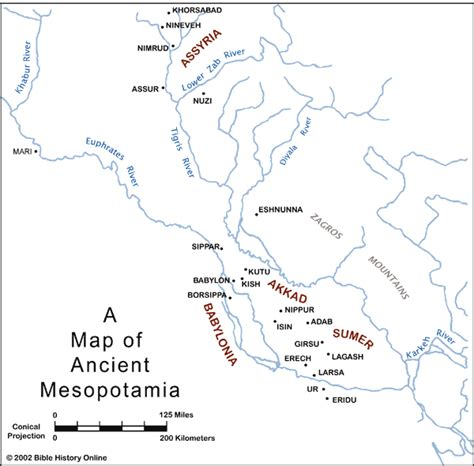 ancient mesopotamia map the ancient places and the urantia book