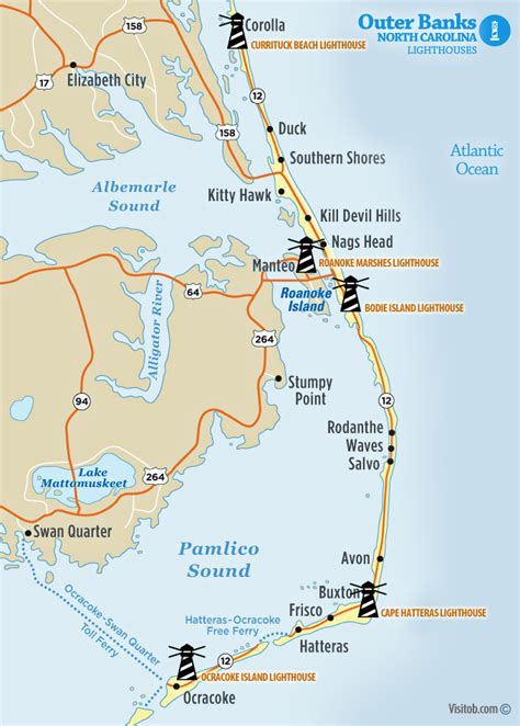 Outer Banks Lighthouses Map Www Pixshark Com Images Galleries With A Bite | map of lighthouses visit outer banks obx vacation guide