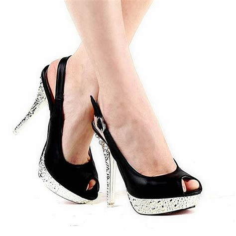 black discount prom shoes sandals buckle high heel peep
