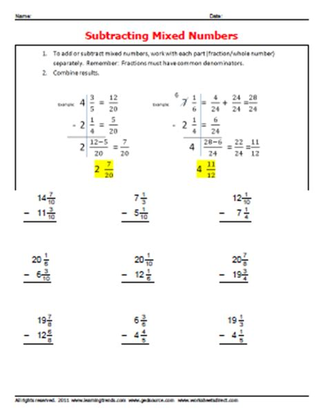 adding mixed numbers without regrouping worksheet