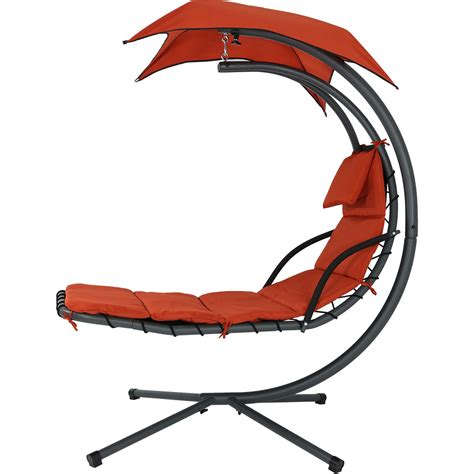 swing lounger sunnydaze floating chaise lounger swing chair with canopy