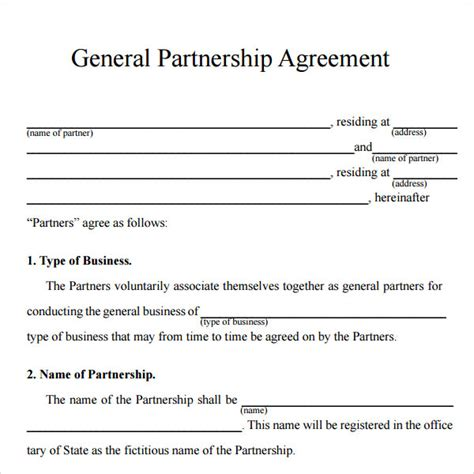 16 Partnership Agreement Templates Sle Templates Simple General Partnership Agreement Template