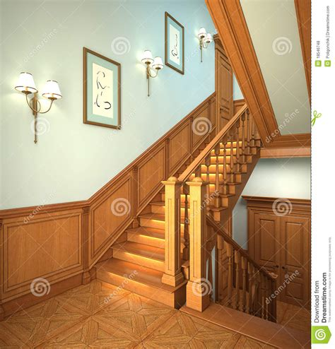 stairs in house wood stairs in the modern house stock illustration