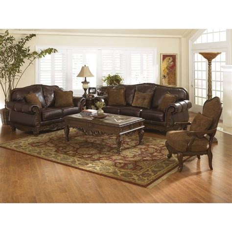 north shore sofa set ashley north shore 3 piece leather sofa set with chair in