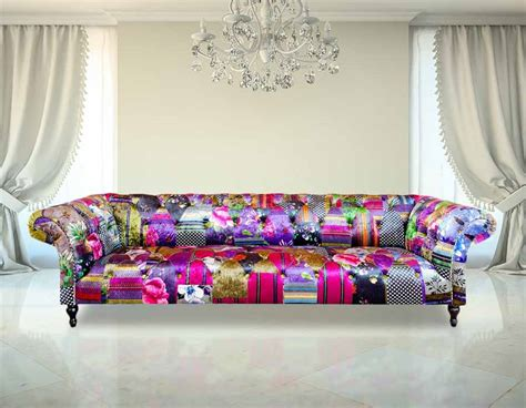 patchwork chesterfield sofa chesterfield patchwork 4 seater fabric sofa settee