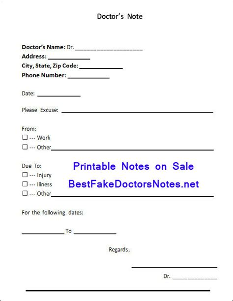 sick note template for work get a leave from work with a doctor s note pairmag