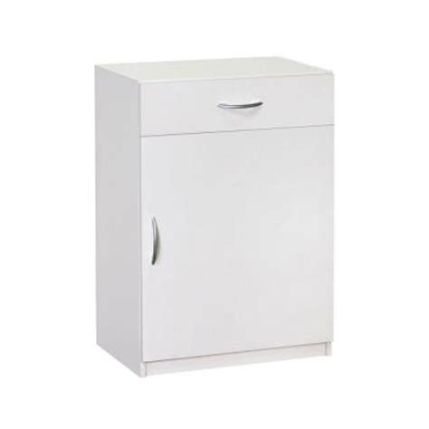 Closetmaid Cabinets Home Depot closetmaid 34 75 in h x 24 in w x 15 25 in d white laminate 1 door and 1 drawer base cabinet