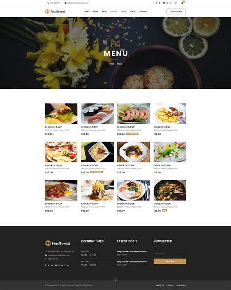 menu grid layout foodforest restaurant psd template by univertheme
