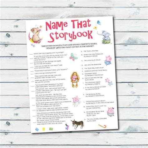 printable themed quiz storybook baby shower games storybook quiz printable name
