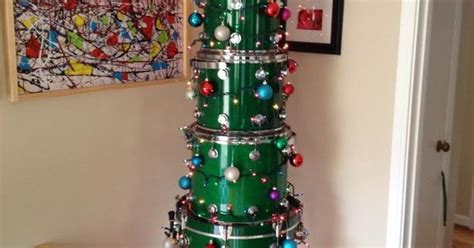 christmas drum skirt green drum tree complete with tree skirt and yellow on top doesn t take up